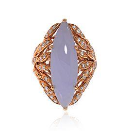 Luca Carati 18K Rose Gold Chalcedony Gemstone & Diamonds Ring 0.78Cttw Size 6.5