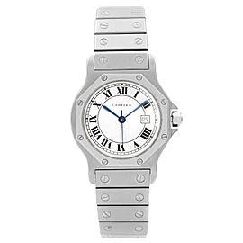 Cartier Santos octagon 29mm Steel White Roman Dial Automatic Ladies Watch 2965