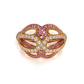 Luca Carati 18K Yellow Gold Diamond & Pink Sapphire Cocktail Ring 1.06Cttw Sz 7