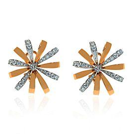 Luca Carati 18K Rose & White Gold Dimond Flower Earrings 1.29Cttw