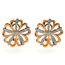 Luca Carati 18K Rose & White Gold Diamond Flower Earrings 0.78Cttw