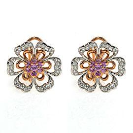 Luca Carati 18K Rose & White Gold Pink Sapphire Diamond Flower Earrings