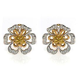 Luca Carati 18K Rose & White Gold Yellow Sapphire Diamond Flower Earrings