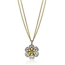 Luca Carati 18K Yellow & White Gold Diamond Sapphires Pendant Necklace 0.66Cttw