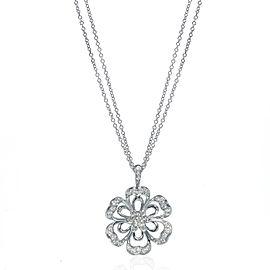 Luca Carati 18K White Gold Diamond Flower Pendant Necklace 1.11Cttw