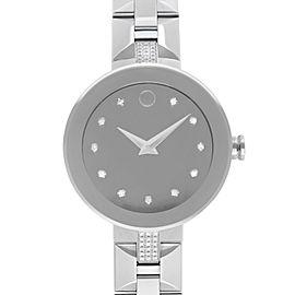 Movado Sapphire Steel Silver Mirror Diamond Dial Quartz Ladies Watch 0606815