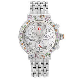 Michele Extreme Fleur Diamond Steel MOP Dial Ladies Quratz Watch MW04A13