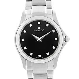 Movado Masino 26mm Steel Black Diamond Dial Quartz Ladies Watch 0606186