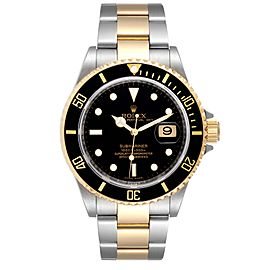 Rolex Submariner Black Dial Steel Yellow Gold Mens Watch 16613 Box Card