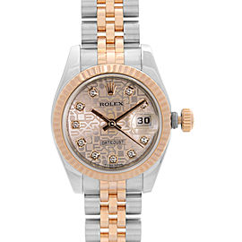 Rolex Datejust 26mm 18k Rose Gold Steel Diamond Dial Ladies Watch 179171