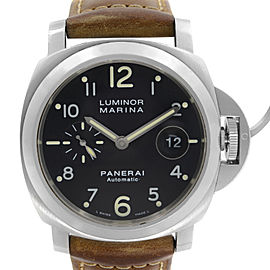 Panerai Luminor Marina Steel 44 mm Black Dial Mens Automatic Watch PAM00164