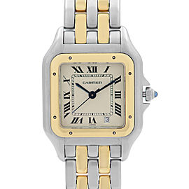 Cartier Panthere 26 18K Yellow Gold Steel Cream Dial Ladies Quartz Watch 183949