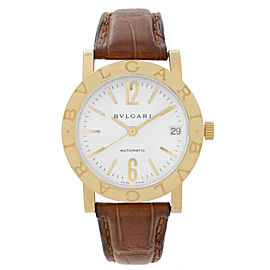 Bvlgari 33mm 18k Yellow Gold White Dial Leather Strap Automatic Watch BB33GL