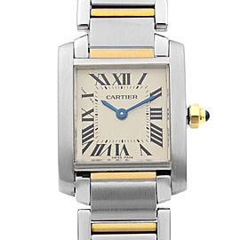 Cartier Tank Francaise Steel Gold White Roman Dial Ladies Quartz Watch W51007Q4