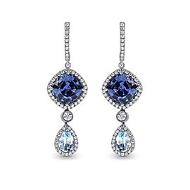 Leibish 18K White Gold with 7.00ctw Tanzanite, Aquamarine and Diamond Drop Earrings