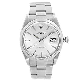 Rolex Oysterdate Precision 34mm Steel Silver Dial Manual Wind Mens Watch 6694