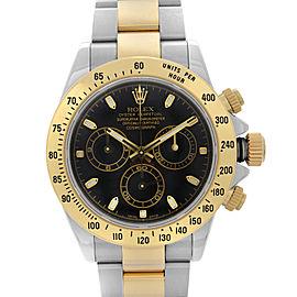 Rolex Daytona 40mm 18K Yellow Gold Steel Black Dial Automatic Mens Watch 116523