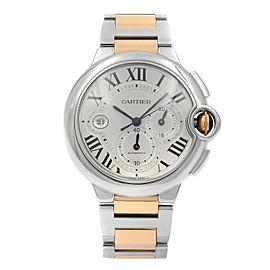 Cartier Ballon Bleu 44mm 18K Rose Gold Silver Dial Automatic Mens Watch W6920063