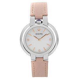 Bulova Rubaiyat Diamond Accent Steel Pink Strap Quartz Ladies Watch 96P197