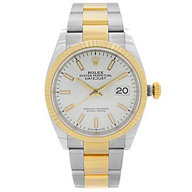 Rolex Datejust 36mm Stainless Steel 18k Yellow Gold White Dial Mens Watch 126233