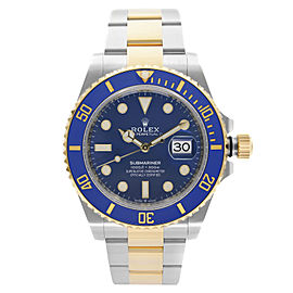 Rolex Submariner 41mm 18K Yellow Gold Steel Blue Dial Automatic Watch 126613LB