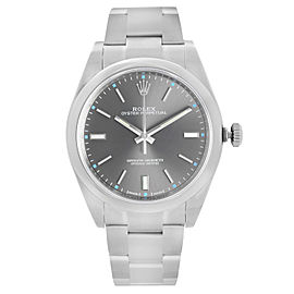 Rolex Oyster Perpetual 39mm Steel Dark Rhodium Dial Mens Automatic Watch 114300