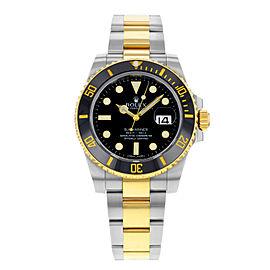 Rolex Submariner 40mm 18K Yellow Gold Steel Black Dial Mens Watch 116613LN