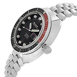 Bulova Oceanographer Devil Diver Steel Black Dial Automatic Mens Watch 98B320