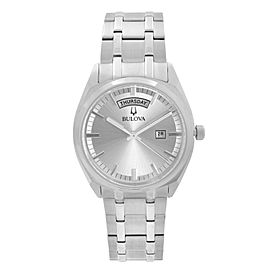Bulova Classic Day-Date Stainless Steel Silver Dial Quartz Mens Watch 96C127