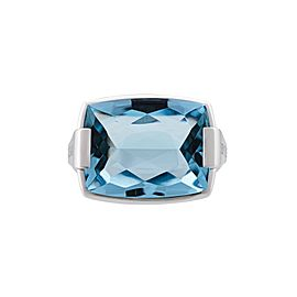Bvlgari 18K White Gold Pyramid Topaz Ring