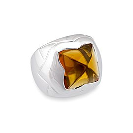 Bvlgari 18K White Gold Pyramid Vintage Citrine Ring
