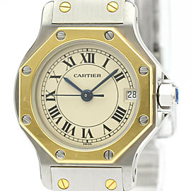 CARTIER 18K yellow Gold/Steel Santos Octagon Watch HK-2033