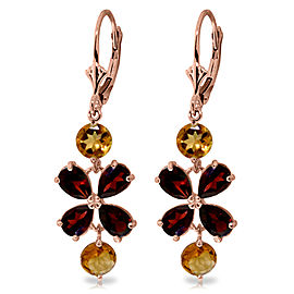 5.32 CTW 14K Solid Rose Gold Chandelier Earrings Garnet Citrine