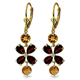 5.32 CTW 14K Solid Gold Chandelier Earrings Garnet Citrine