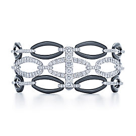 Kwiat 18k White Gold Black Ceramic Bracelet From The Madison Avenue Collection