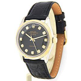Mens Rolex Two-Tone Air-King Black Diamond 5501