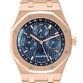 Audemars Piguet Royal Oak Perpetual Calendar Blue Dia Rose Gold Watch 26574OR