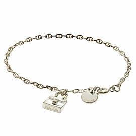 HERMES Silver Chene Dunkle Kelly Charm Bracelet