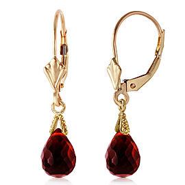 4.5 CTW 14K Solid Gold Leverback Earrings Briolette Garnet