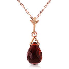 2.5 CTW 14K Solid Rose Gold Necklace Briolette Garnet