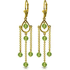 3 CTW 14K Solid Gold Paris Peridot Earrings
