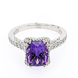 Tacori 18k White Gold 9x7mm Amethyst & Diamond Ring