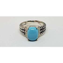 David Yurman Sterling Silver Diamonds and Turquoise Petite Wheaton Ring