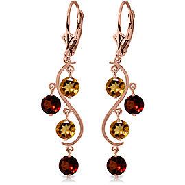 4.6 CTW 14K Solid Rose Gold Garnet Cirine Drop Earrings