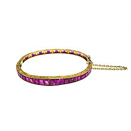 Gold and Ruby Bangle Bracelet