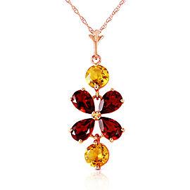 3.15 CTW 14K Solid Rose Gold Necklace Garnet Citrine