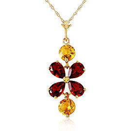 3.15 CTW 14K Solid Gold Felicita Garnet Citrine Necklace