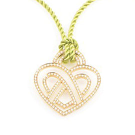 Poiray 18K Yellow Gold Diamond Heart Pendant & Cord Necklace