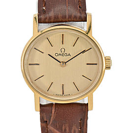 OMEGA Vintage GP/Leather Cal.625 Hand Winding Ladies Watch