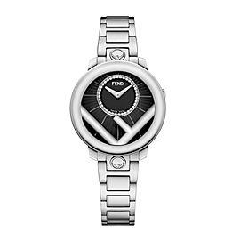 FENDI Run Away Black Diamond Dial Watch 28mm F711021000D2